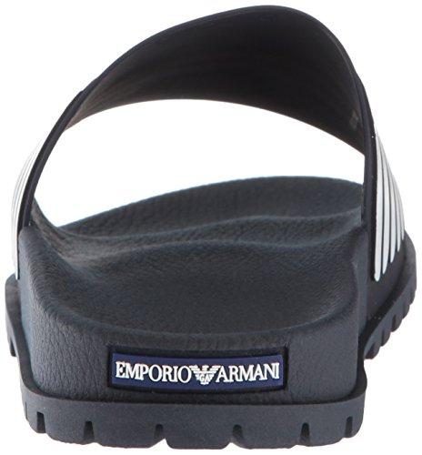 Eagle Blue Uomo Slide Nero Emporio Sandalo Logo Armani 0wUzxqI5