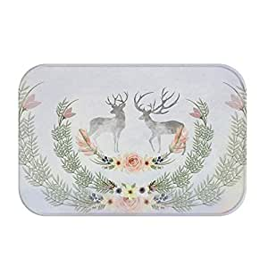 24X15inch Milu deer series door mat bedroom kitchen water absorption anti slip mat (Double Deer)