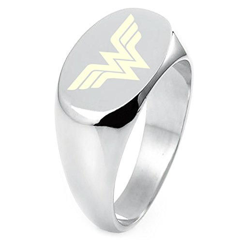Sterling Silver DC Wonder Woman Logo Engraved Oval Flat Top Polished Ring, Size 5 (Engraved Oval Ring)