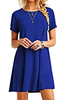 YMING Women's Pius Size Casual Dresses Short Sleeve Mini Dress Solid Color Shirt Dress Blue M