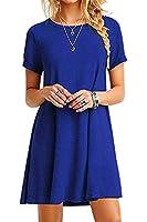 YMING Women Summer Simple Dress Short Sleeve Mini Dress Solid Color Short Dress Blue XL