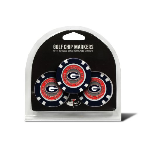 Team Golf NCAA Georgia Bulldogs Golf Chip Ball Markers (3 Count), Poker Chip Size with Pop Out Smaller Double-Sided Enamel Markers (Bulldogs Georgia Balls Golf)
