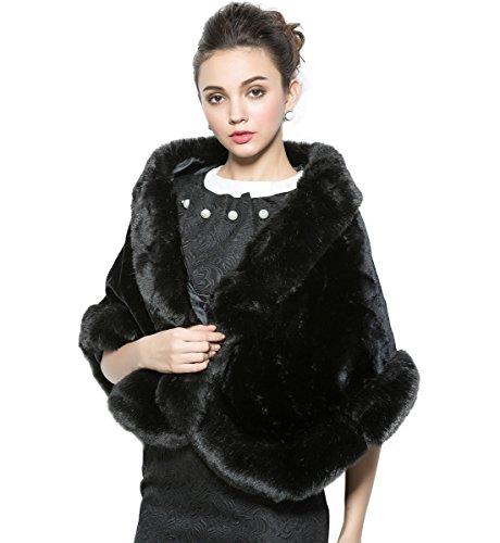 MISSYDRESS Faux Fur Shawl Cape Wrap Stoles for Wedding Bride Party Dress Black