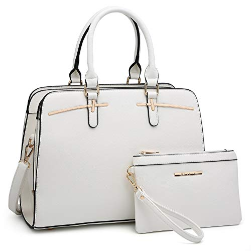White Leather Handbag Purse - Women Handbags Satchel Purses Top Handle Work Bag Briefcases Tote Bag With Matching Wallet (2-White)