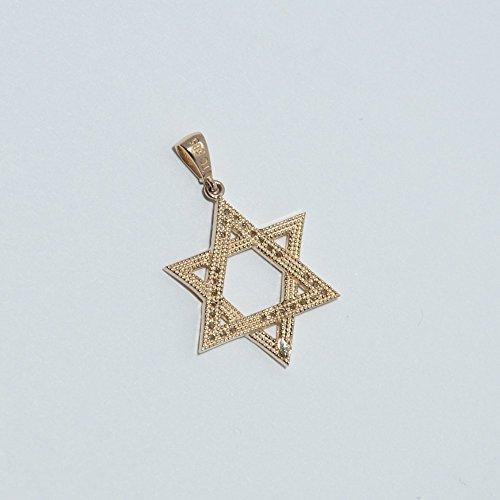 ASS en or 585Homme, Femme, les enfants Pendentif étoile de David avec Zirconium, étoile de David. Neuf