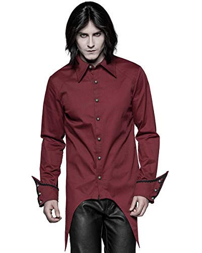 Punk Rave Hombre Vampiro Gótico Camisa Top Rojo Steampunk Vintage Victoriano Boda - Rojo, Small