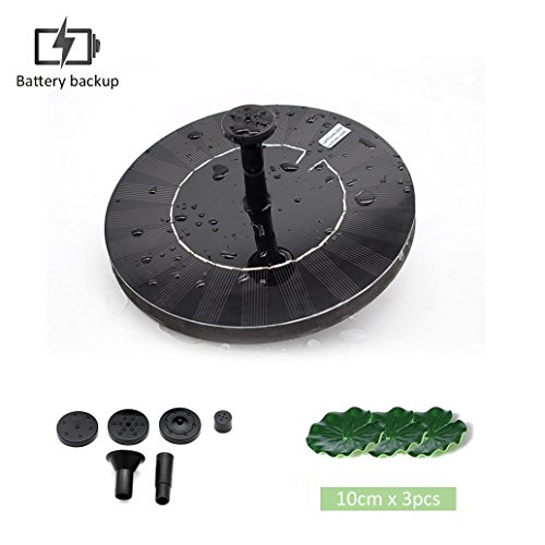 sncoto Solar Fountain Pump with Battery Backup, Upgraded 1.5W Solar Power Bird Bath Free Standing Water Pump Panel Kit - Outdoor Fountain Watering Submersible Pump for Pond, Pool, Garden,Fish Tank by sncoto