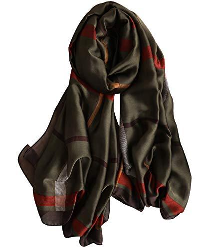 NUWEERIR Womens 100% Mulberry Silk Scarf Long Satin Scarf Fashion Designer Scarf Lightweight Wraps (20)