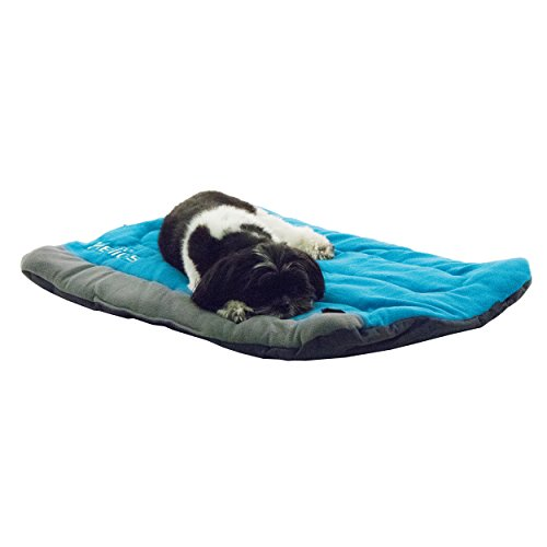 DOGHELIOS 'Combat-Terrain' Cordura-Nyco Reversible Nylon and Polar Fleece Travel Camping Folding Pet Dog Bed Mat, Large, Blue, Grey