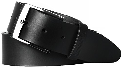 Handmadecart Men's Authentic Leather Belt with Heavy Metal Buckle (34, Black)