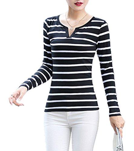 Fashion Camicie Quotidiani Simple Righe Autunno Casual Tumblr Lunga Donne Moda Sottile V Tops Shirt Maglietta Bluse Primavera e a T Nero1 Cime Maglie Manica a Scollo Jumper dS7wqxrZS