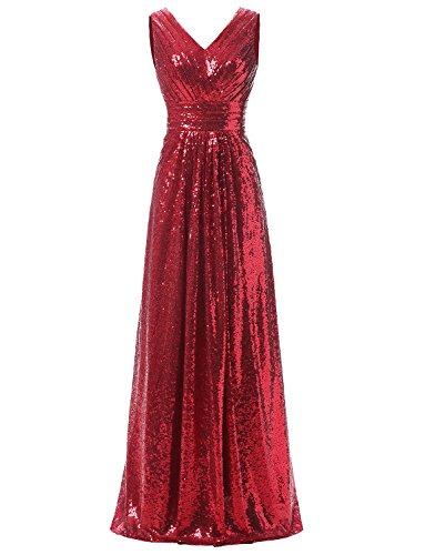 Brautjungfer Pailletten ausschnitt V Erosebridal Abendkleider Rot Lange Kleider vaPqxRfO