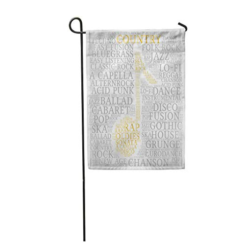Semtomn Garden Flag 28x40 Inches Print On Two Side Polyester Acapella Country Word Cloud Musical Notes Gradient Gray Variety of Music Acid Home Yard Farm Fade Resistant Outdoor House Decor -