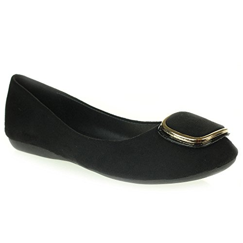 Womens Ladies Casual Everyday Comfort Slip on Ballerinas Ballet Pumps Flat Shoes Size Black TkH0qH