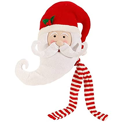 Raz Imports Santa Claus Head With Hat And Scarf Holiday Tree Topper 17quot
