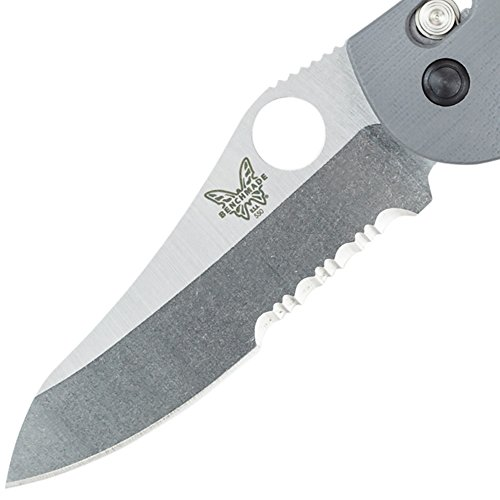 Benchmade Griptilian 550-1 Knife, Serrated Sheepsfoot, Satin Finish, Gray Handle