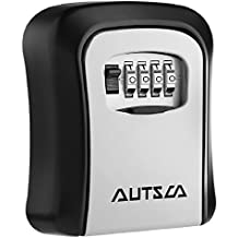 AUTSCA Key Lock Box Wall Mounted Stainless Steel Key Safe Box Weatherproof 4 Digit Combination Key Storage Lock Box Indoor Outdoor
