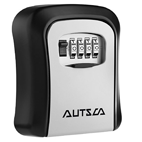 AUTSCA Key Lock Box Wall Mounted Stainless Steel Key Safe Box Weatherproof 4 Digit Combination Key Storage Lock Box Indoor Outdoor by AUTSCA