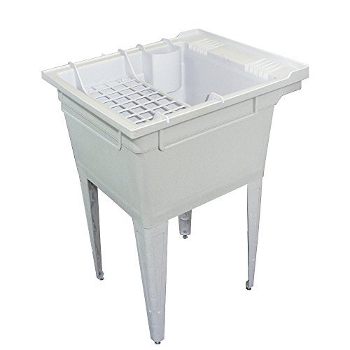 Samson SM-19-FA Floor-Mounted Laundry Tub 22.375-In W x 26-In D x 34.75-In H with Accessory Kit, White, Gray