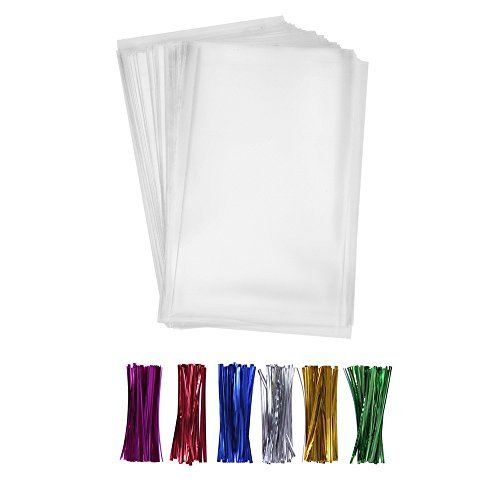 Ties Colored Twist - 200 Clear Treat Bags 6x9 with 4
