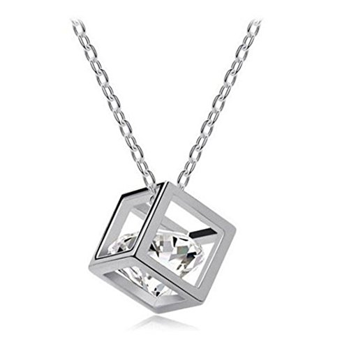 Usstore Women Lady Necklace Crystal Rhinestone Square Pendants Necklace Jewelry (Silve)