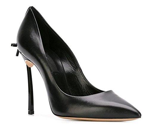 Lambskin Platforms Leather (Miyoopark LS0601 Women's Slip-on Stiletto Black Leather Evening Formal Pumps US 8)