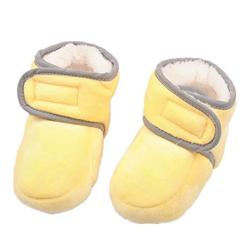 Starkma Winter Thick Warm Soft Fleece Baby Booties Soled Shoes (0-6 month (Bottom length11cm), yellow)