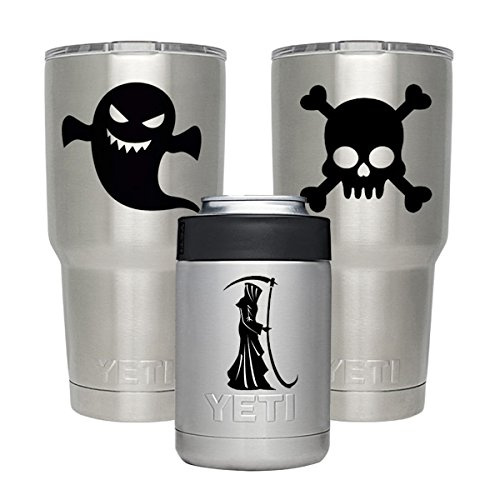 Vinyl Stickers for Yeti Tumbler 20 30 OZ Lowball Rambler Cups - 3 Patterns Personalized Decal - Pretective Decals DIY for RTIC Trumbler Ozark Trail Cup Bottle Laptop Pad Phone - Skull Reaper Ghost