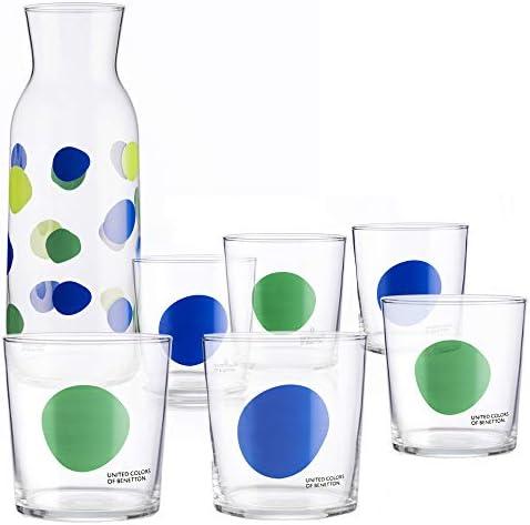 UNITED COLORS OF BENETTON. PK2003 Set cristalería 7 Piezas: Jarra 108 6 Vasos de Vidrio, Decorados a Juego, 33 cl, Cristal, Puntos: Amazon.es: Hogar