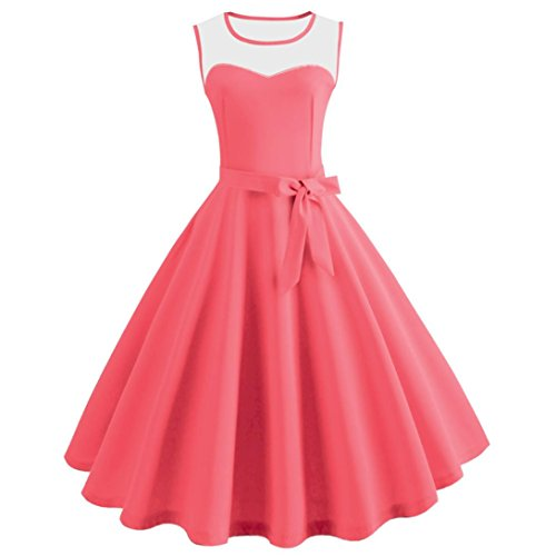 Shift Jacket Leather (Women Dress Hot Sale Daoroka Vintage Retro Sexy Summer Sleeveless Evening Party Casual A Line Swing Pleated Bodycon Sundress With Sashes Skirt (L, Watermelon Red))