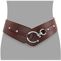 JasGood Women's Fashion Vintage Wide Elastic Stretch Waist Belt With Interlock Buckle (Suit Waist 34-38Inch, Coffee)