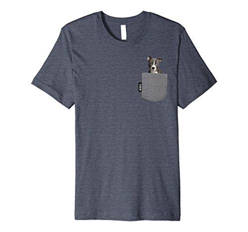 Mens Blue Nose Pitbull Pocket Pet Tshirt Medium Heather Blue