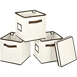 MaidMAX Stackable Storage Cubes Bins with Label Holder and Dual Handles, Set of 3 with One Lid