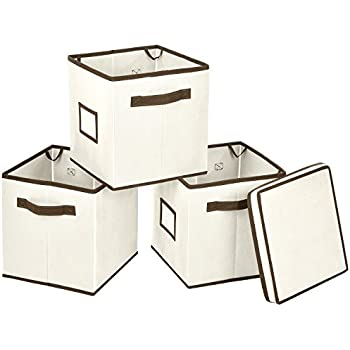 Foldable Storage Bins with Lid, MaidMAX Set of 3 Stackable Storage Cubes Fabric Containers Organizers Drawers with 1 Top Lid, Label Holders & Dual Handles for Shelves Closet DVD Nursery, Beige