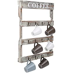 12 Hooks Rustic Wall Mounted Wood Coffee Mug Holder, Kitchen Storage Rack, Large