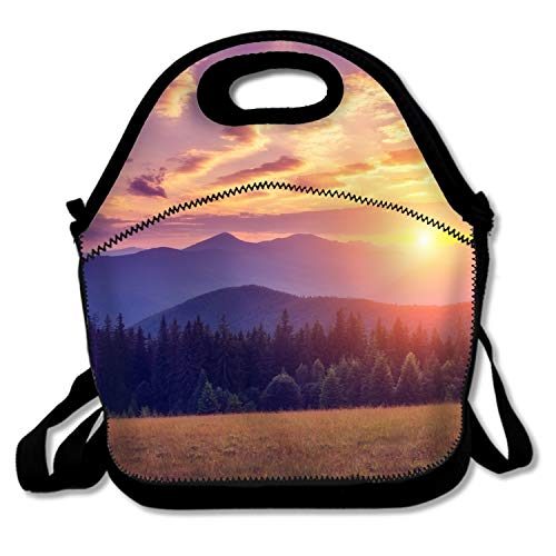 - Mountain Peaks At Sunset Lunch Bags Waterproof Lunchboxes Reusable Insulated Lunch Boxes
