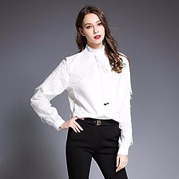 Mayihang Blusa Camisa La primavera y el verano la moda femenina Puntilla Puntilla Camiseta manga larga