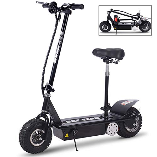 800w 36v Electric Scooter with Folding Seats and Handlebars,Pocket Bike with Strong Carrying Capacity,10''Knobby Pneumatic Tires for Off Road Riding and Powerful Mini Scooters for Adults