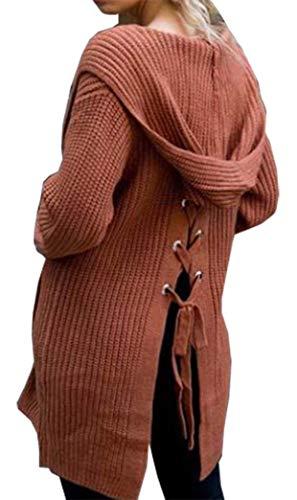 Cappotto Maniche Alla Relaxed Outwear Maglia Tasche Donna Autunno Incappucciato Giacca Primaverile A Eleganti Pullover Lunghe Lacci Casual Tempo Chic Con Libero Rot Ragazza dAxqp