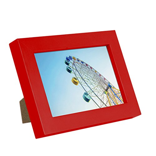BOJIN 5x7 Inch Wooden Picture Frame for Tabletop and Desktop Wood Photo Frame with Non Glass Front-Red