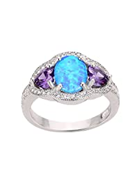 Heart Sided Round Blue Simulated Opal Simulated Amethyst Cubic Zirconia Ring 12MM Sterling Silver 925