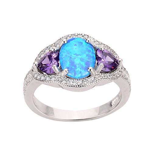 CloseoutWarehouse Blue Simulated Opal and Heart Simulated Amethyst Cubic Zirconia Ring Sterling Silver Size 10 by CloseoutWarehouse (Image #4)