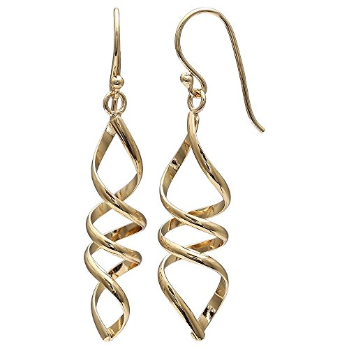 925 Sterling Silver Gold Plated Polished Corkscrew Drop Earrings