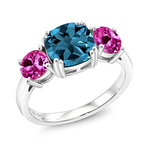 3.84 Ct Cushion London Blue Topaz Pink Created Sapphire 925 Sterling Silver Meghan Ring (Size 6)
