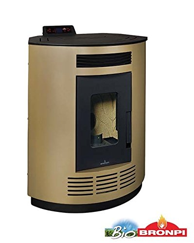 "bronpi – Estufa de pellets 8 kW Mod.""Nina Color Dorado"