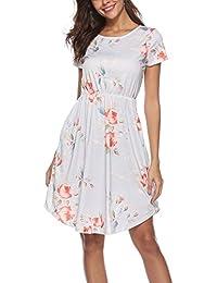 Women Floral Short Sleeve Tunic Vintage Midi Casual Dress...
