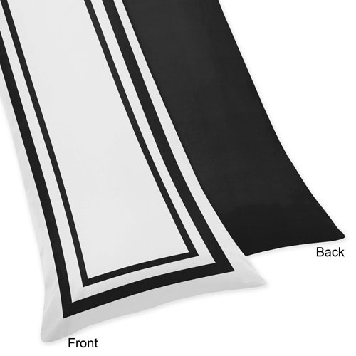 Sweet Jojo Designs Contemporary White and Black Modern Hotel Full Length Double Zippered Body Pillow Case Cover