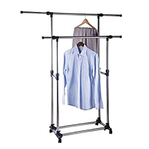 co z rolling clothes rack adjustable double. Black Bedroom Furniture Sets. Home Design Ideas
