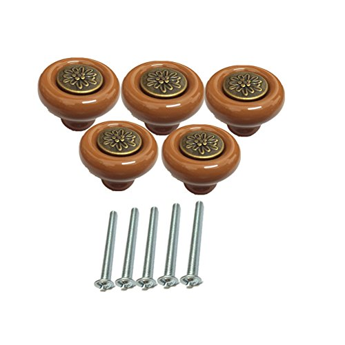 Ltvystore 5Pack Coffe Ceramic Pastoral Carved Cabinet Knobs,Drawer Pulls & Handles Set,Ceramic Pastoral Carved Knobs for Door Dresser Drawer Cupboard Baby Kid's Children's Furniture with Screws (Carved Ceramic)
