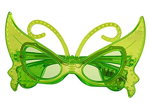 Mammoth Sales 1 Pair of LED Flashing Light Up Butterfly Party Glasses Shades (Green) ()